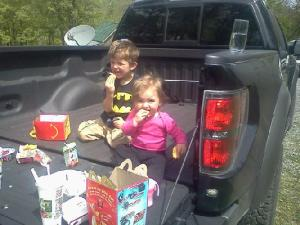 Eating in Daddy's truck.