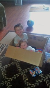 Packing the kids' things.  Then packing the kids!