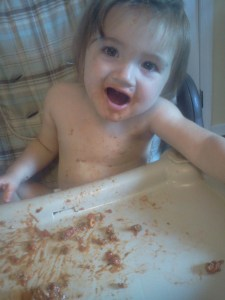 This kids loves spaghetti night.